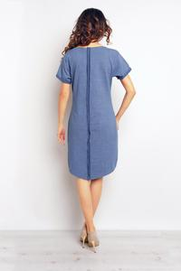 Blue Dipped Hem Dress with Pockets