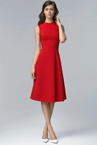 Red Seam Midi Dress with High Neckline