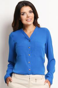 Blue Ladies Shirt with Chest Pockets