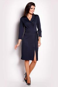 Dark Blue Wrap Belted Dress