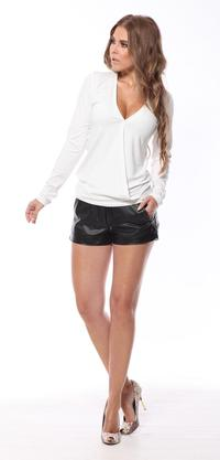 Ecru Deep V-Neck Long Sleeved Top