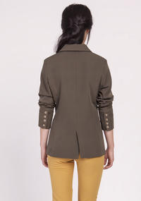 Khaki Classic Jacket Fastened with One Button