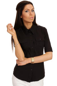 Slim Fit Seam Collared Black Shirt with Flap Chest Pocket