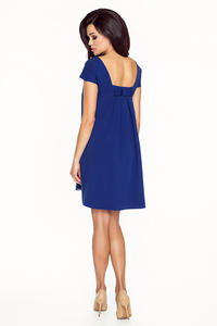 Blue Flared Dress with Bow at The Back
