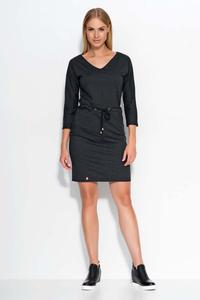 Black Wrap Waist Mini Casual Dress