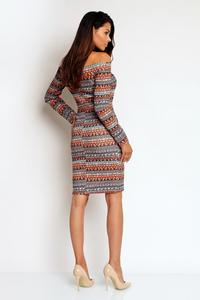 Boho Pattern Off Shoulder Fitted Knee Lenght Dress