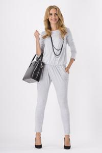 Light Grey Comfortable Wrinkled Long Sleeves Jumpsuit
