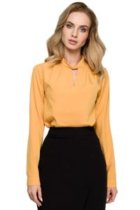 Yellow Elegant Blouse with Stand-up Collar