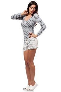Grey Dragonflies Body Suit with Long Sleeves