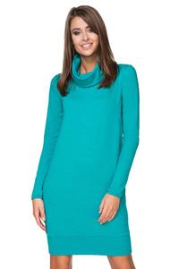 Turquoise Casual Dress with Tourtleneck