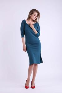 Green Fitted Midi Dress with Side Slits