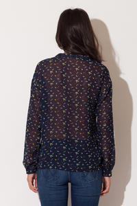 Dark Blue Bird Printed Bow-tie Neckline Blouse