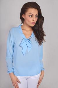 Light Blue Long Sleeves Blouse with Self Tie Bow