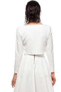 White Cropped Blouse with Bateau Neckline and Side Zipper