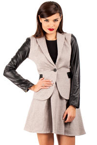 Shawl Collar Flecked Brown Coat with Contrast Stretch Sleeves