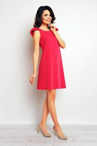 Pink Flared Dress with Butterfly Sleeves