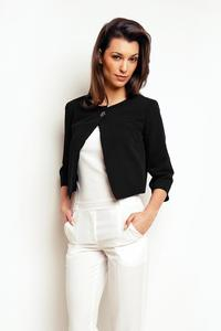Black One Button Short Bolero Blazer