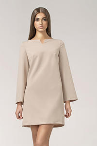 Beige High Fashion Mini Shift Dress