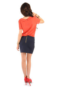 Navy Blue Pencil Mini Skirt with Back Zip Fastening