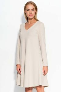 Beige V-Neckline Flared Casual Dress