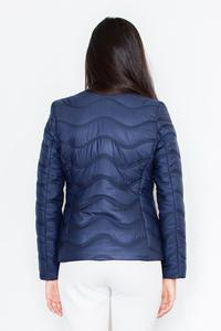 Blue Short Light Padding Asymetrical Zip Jacket
