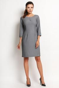 Grey Classic 3/4 Sleeves Dress