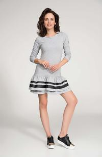 Grey Mini Frilled Hem Dress