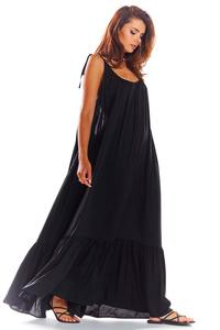 Black Maxi Dress with thin straps with a frill