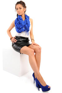 Pencil Leather Black Skirt with Loops for Belt