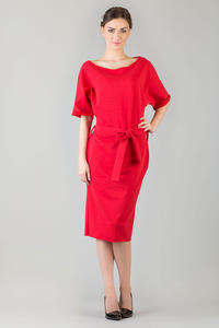 Red Loose Neckline Self Tie Belt Casual Dress