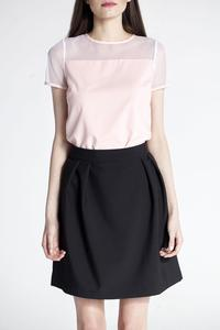 Pink Transparent Sleeves Simple Blouse