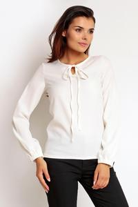 Ecru  Elegant Office Style Blouse with a Bow