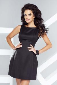 Black Flared Open Back Mini Dress