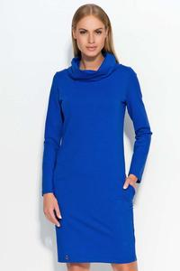 Blue Casual Dress with Tourtleneck