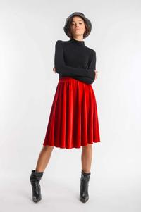 Red Flared Midi Velor Skirt