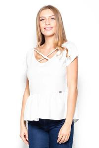 Ecru Short Sleeves Blouse with a Peplum
