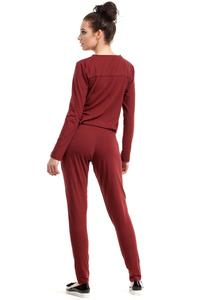 Maroon Casual Snaps Closure Jumpsuit