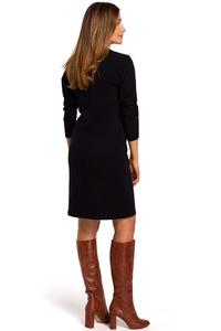 Black Knitted Straight Above Knee Dress