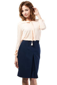 Navy Blue Elegant Knee Lenght Double Fold Skirt