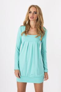 Mint Long Sleeved Square Neckline Mini Dress