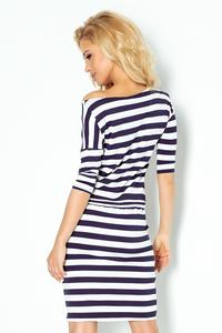 Dress in Thick Navy Striped Drawstring Waistband