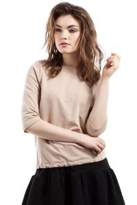 Beige 3/4 Sleeves Top with Cute Bow