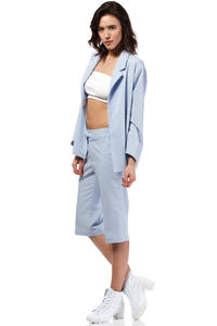 Light Blue Loose Fit Classic Style Blazer