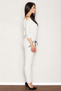 Light Grey Jumpsuit with Cut Out Shoulders