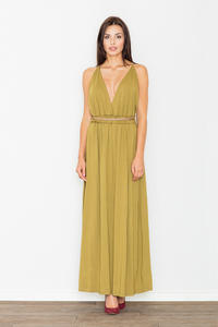 Olive Green Maxi Long Greek Style Deep Neckline Dress