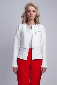 Biały Elegant Ladies Blazer with 3 Zippers