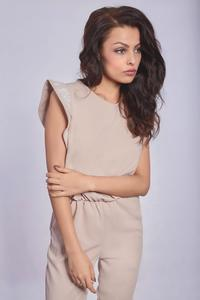 Beige Romantic Tapered Legs Jumpsuit with Frills