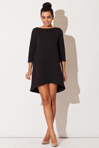 Black Quilted Winter Fall Loose Dress