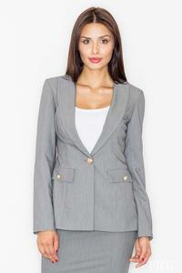 Grey Elegant One Button Ladies Blazer
