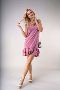 Loose Sleeveless Dress with Frills - Light pink